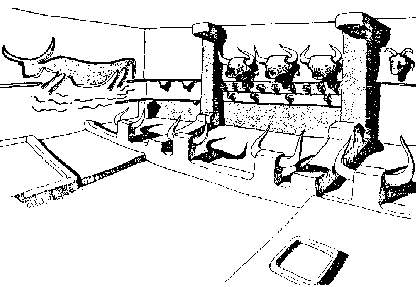 [Image: Wall mounted aurochs horns and freestanding horns]