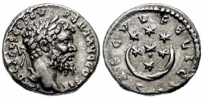 [Image: Roman coin of the Imperial era after Hadrian]
