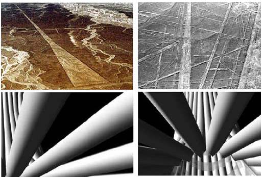 [Image: Nazca lines, and electron beams as seen from below.]