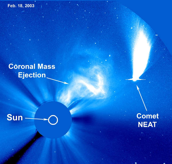 [Image: The comet NEAT and the Sun in 2003]